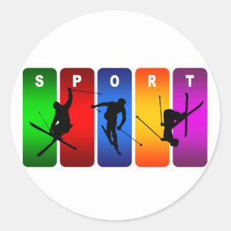 Sticker Rond Emblème multicolore de ski