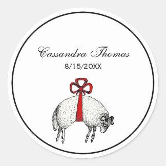 Sticker Rond Emblème réuni héraldique de crête de moutons de