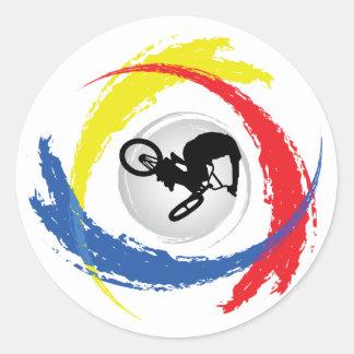 Sticker Rond Emblème tricolore de BMX