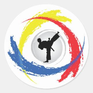 Sticker Rond Emblème tricolore de karaté