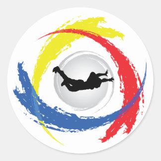 Sticker Rond Emblème tricolore de parachutisme
