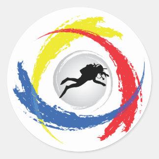 Sticker Rond Emblème tricolore de plongée à l'air