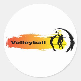 Sticker Rond Emblème unique de volleyball
