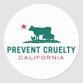 Sticker Rond Empêchez l'autocollant de CA de cruauté