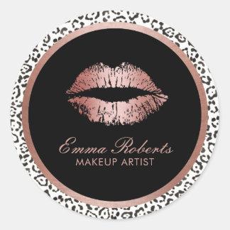 Sticker Rond Empreinte de léopard moderne de lèvres roses d'or