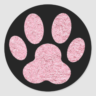 Sticker Rond empreinte de patte d'animal familier de