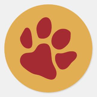 Sticker Rond Empreintes de pattes rouges