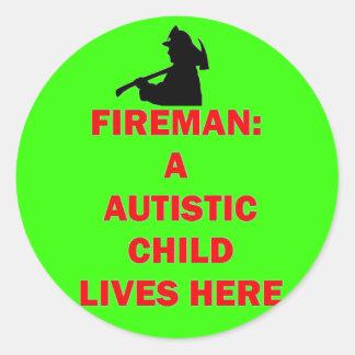 Sticker Rond En cas d'enfant autiste d'économies du feu