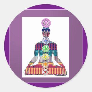 Sticker Rond Énergie curative d'étincelle de Chakra de