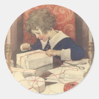 Sticker Rond Enfant vintage de réveillon de Noël, Jessie