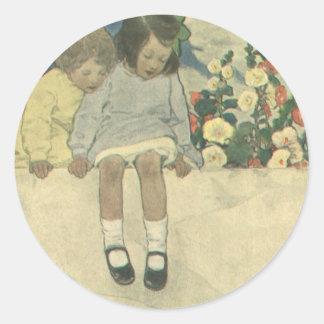 Sticker Rond Enfants vintages, mur Jessie Willcox Smith de