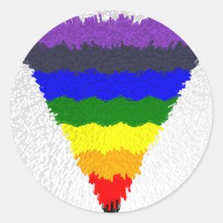 Sticker Rond Entonnoir onduleux de triangle d'arc-en-ciel de