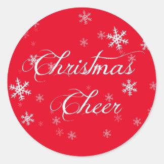 Sticker Rond Enveloppe de rouge d'acclamation de Noël de flocon