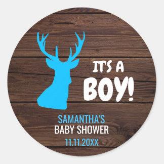 Sticker Rond Enveloppe rustique de baby shower de thème de