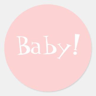 Sticker Rond Enveloppe Seal_Girl_Baby d'Annoncement de