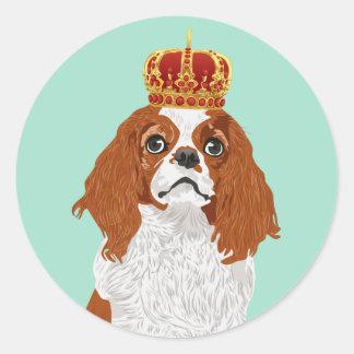 Sticker Rond Épagneul cavalier du Roi Charles pour des amoureux