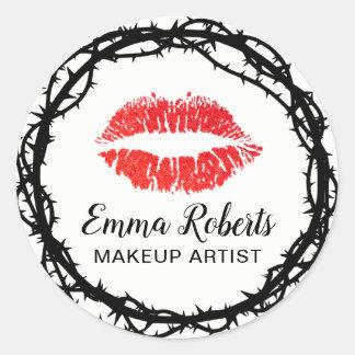 Sticker Rond Épine élégante de lèvres rouges de maquilleur