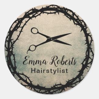 Sticker Rond Épine vintage de ciseaux noirs de coiffeur