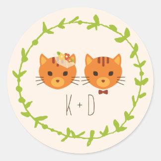 Sticker Rond Épouser (crème) lunatique de chats de forêt