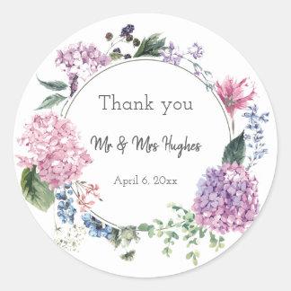 Sticker Rond Épouser de guirlande de fleur d'hortensia orienté