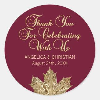 Sticker Rond Épouser de Merci de feuille d'érable d'or de
