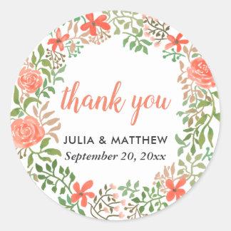 Sticker Rond Épouser floral de Merci de guirlande d'aquarelle