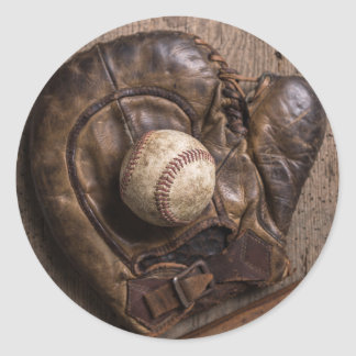 Sticker Rond Équipement de base-ball vintage