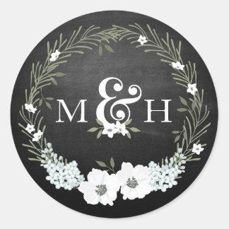 Sticker Rond Esperluète florale de monogrammes de mariage de