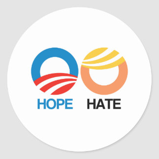 Sticker Rond ESPOIR (Obama) contre la HAINE (atout)