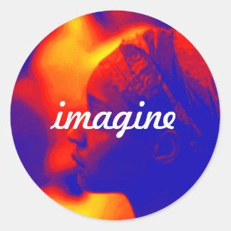 Sticker Rond Esthétique imaginez l'autocollant