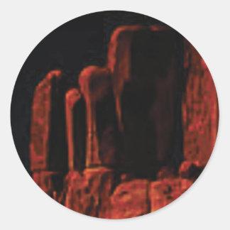 Sticker Rond étapes dans la roche rouge