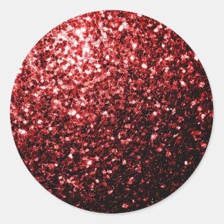 Sticker Rond Étincelles rouges de scintillement de beau charme