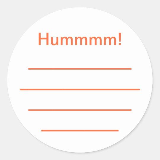 """Sticker Rond Etiquette confiture orange """"Hummmm"""""""