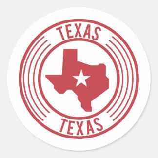 Sticker Rond Étoile blanche de carte rouge du Texas en cercle