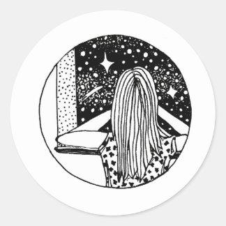 Sticker Rond Étoile d'art du stylo de la fille sauvage de