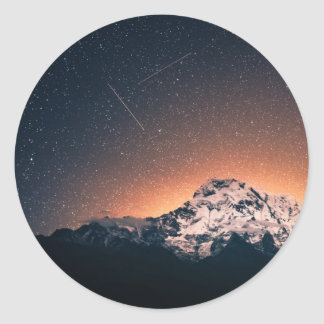 Sticker Rond Étoiles et montagnes