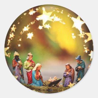 Sticker Rond Étoiles infantiles de Vierge Marie de huche de