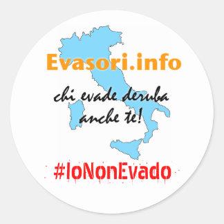 Sticker Rond Evasori.info : #IoNonEvado d'adesivi
