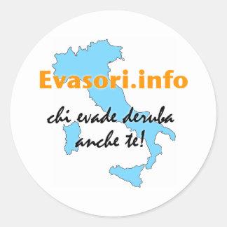 Sticker Rond Evasori.info : piccoli d'adesivi