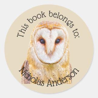 Sticker Rond Ex-libris de cool de hibou de grange d'oiseau de