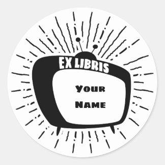 Sticker Rond Ex-libris ex atomique du style TV Libris (noir)
