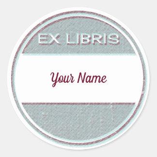 Sticker Rond Ex-libris ex de Libris de style moderne en