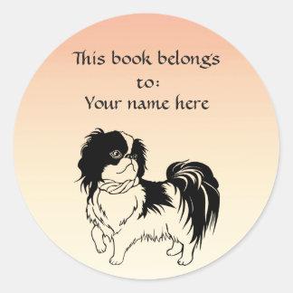 Sticker Rond Ex-libris noir et blanc mignon d'orange de chien