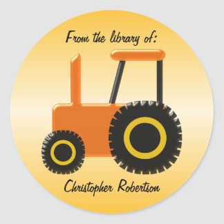 Sticker Rond Ex-libris orange de tracteur