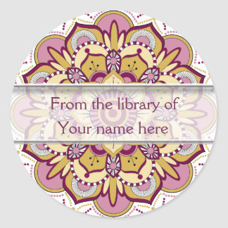 Sticker Rond Ex-libris personnalisés par mandala floral