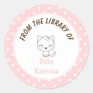 Sticker Rond Ex-libris rose Girly de pois de chat de Kawaii