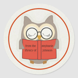 Sticker Rond Ex-libris Rouge-Taupe-Blanc de hibou livresque