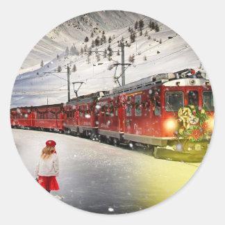 Sticker Rond Express de Pôle Nord - train de Noël - train de