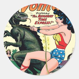 Sticker Rond Express de temps d'emballement de femme de