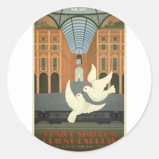 Sticker Rond Express vintage de Milan l'orient de voyage